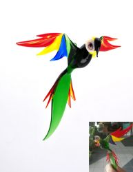 Green Macaw Blown Glass Art