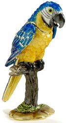 Blue & Gold Macaw Trinket Box w/ Austrian Crystal
