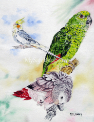 Artist Maria Barry Greeting Card Bird Trio