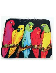 Five Parrots Hanging Out Computer MousePad