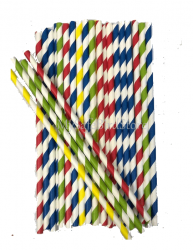 Paper Straws Assorted Striped 10 Pack