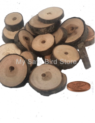 "Pear Wood 1 Inch Slice with 3/8"" Hole 1/4 Pound"