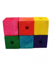 Wood Blocks drilled 1.5 x 1.5 Colored