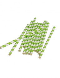 Paper Straws Lime Green Striped