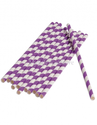 Paper Straws Purple Striped