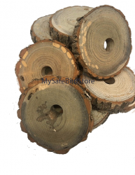 "Sassafras Wood 3 Inch Slice with 1/4"" Hole 10 Pack"