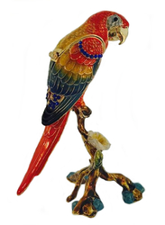 Scarlet Macaw Trinket Box with Austrian Crystal