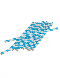 Paper Straws Turquoise Striped