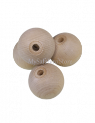"Natural Wood Ball 2"" Drilled 12 Pack"
