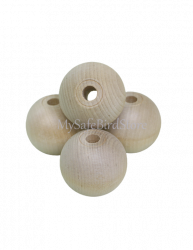 "Natural Wood Ball 1 3/4"" Drilled 12 Pack"